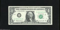 Error Notes:Ink Smears, Fr. 1900-E $1 1963 Federal Reserve Note. Gem Crisp Uncirculated. Anapproximate half inch wide green ink smear that runs fro...