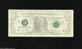 Error Notes:Ink Smears, Fr. 1921-C $1 1995 Federal Reserve Note. Very Fine. The entiresecond (face) printing has been affected by a large solvent s...
