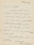 Football Collectibles:Others, 1940's Davey O'Brien Handwritten, Signed Letter....