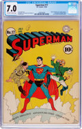 Golden Age (1938-1955):Superhero, Superman #17 (DC, 1942) CGC FN/VF 7.0 Off-white to white pages....