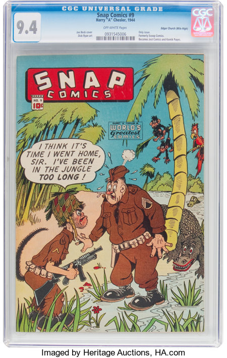 Snap Comics #9 Mile High Pedigree (Chesler, 1944) CGC NM 9.4 Off-white pages....