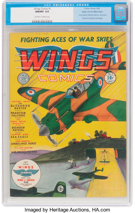 Wings Comics #1 Mile High Pedigree (Fiction House, 1940) CGC NM/MT 9.8 Off-white to white pages....