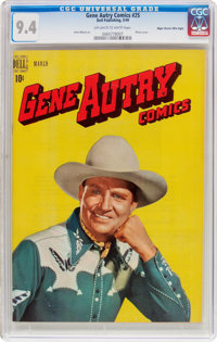 Gene Autry Comics #25 Mile High Pedigree (Dell, 1949) CGC NM 9.4 Off-white to white pages