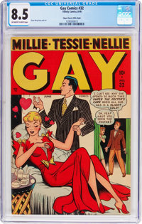 Gay Comics #32 Mile High Pedigree (Timely, 1948) CGC VF+ 8.5 Off-white to white pages