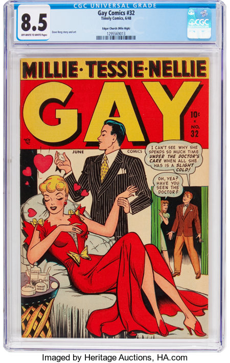 Gay Comics #32 Mile High Pedigree (Timely, 1948) CGC VF+ 8.5 Off-white to white pages....