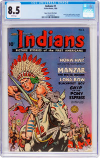 Indians #1 Mile High Pedigree (Fiction House, 1950) CGC VF+ 8.5 White pages