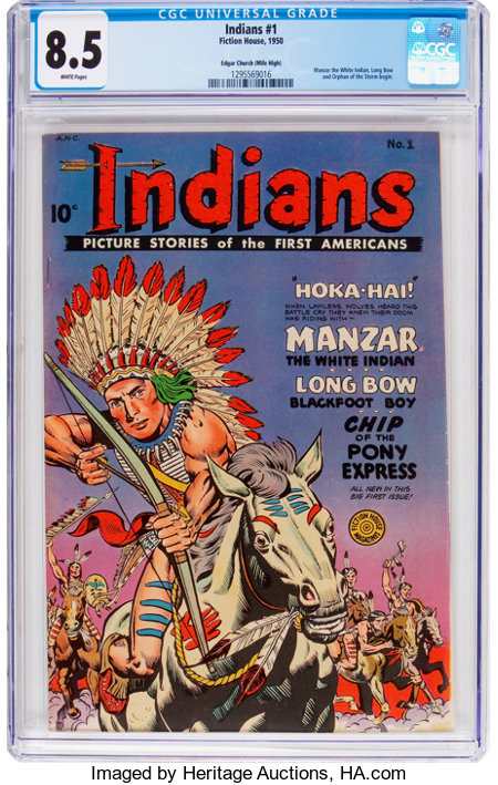 Indians #1 Mile High Pedigree (Fiction House, 1950) CGC VF+ 8.5 White pages....