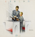 Illustration:Magazine, NORMAN ROCKWELL (American 1894 - 1978) . Father and Boy: Church, Brown & Bigelow: Four Seasons Calendar, Spring, 1961 ... (Total: 1 Item)