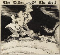 THEODOR SEUSS GEISEL (DR. SEUSS) (American 1904 - 1991) The Tiller of the Soil, 1942, original newspaper editorial ca