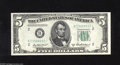Fr. 1963-B* $5 1950B Federal Reserve Note. Very Choice New. A lovely star note whose top margin is slightly smaller but...