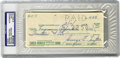 Football Collectibles:Balls, George Trafton Signed Check, PSA Authentic. Credited with being the first Center to snap the ball one-handed, the Notre Dam...