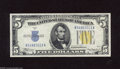 Small Size:World War II Emergency Notes, Fr. 2307 $5 1934A North Africa Silver Certificate. Gem Crisp Uncirculated. Wide margins on this North Africa $5 reveal two ...