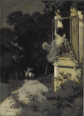 Illustration:Advertising, JOHN VANDERPOEL (American 1857 - 1911) . Woman In Window,original illustration . Oil on canvas . 22 x 16in. . Signed lo...(Total: 1 Item)