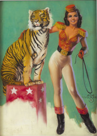 ZOE MOZERT (American 1904 - 1993) He's Safer Than A Wolf, original pin up illustration Oil on board 16 x 11-1/2in