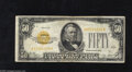 Small Size:Gold Certificates, Fr. 2404 $50 1928 Gold Certificate. Fine. This Gold denomination is truly scarce in all grades, with this example displayin...