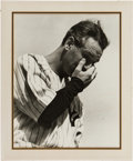 Baseball Collectibles:Photos, 1939 Lou Gehrig Oversized Vintage Photograph Print from OriginalNegative Signed by Photographer Murray Becker....