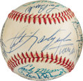 Autographs:Baseballs, Circa 1984 Hall of Famers Signed Baseball with Roger Maris....