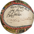 Autographs:Baseballs, 1974 Folk Art Multi-Signed Baseball by George Sosnak HonoringMantle's Induction into the Baseball Hall of Fame....