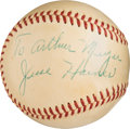 Autographs:Baseballs, 1958-62 Jesse Haines Single Signed Baseball, PSA/DNA NM 7.. ...