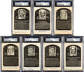 Baseball Collectibles:Others, 1956 Artvue Signed Hall of Fame Plaque Postcards Lot of 7....