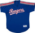 Baseball Collectibles:Uniforms, Early 1990's Jose Canseco Batting Practice Worn Texas Rangers Jersey. . ...