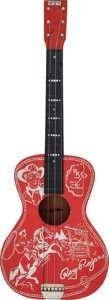 Musical Instruments:Acoustic Guitars, Circa 1950's Range Rhythm Roy Rogers Red Acoustic Toy Guitar, Serial # N/A....