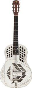 Musical Instruments:Resonator Guitars, Cira 1930-1933 National Style 2 Tricone Nickel Resonator Guitar, Serial # S6080....