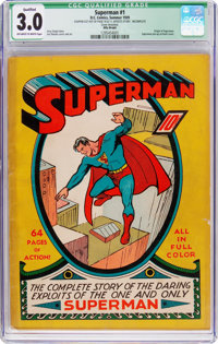 Superman #1 Billy Wright Pedigree (DC, 1939) CGC Qualified GD/VG 3.0 Off-white to white pages