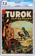 Golden Age (1938-1955):Miscellaneous, Four Color #596 Turok Son of Stone (Dell, 1954) CGC VF- 7.5 Cream to off-white pages....