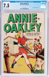 Annie Oakley #1 (Timely/Atlas, 1948) CGC VF- 7.5 Off-white to white pages