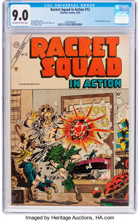 Racket Squad in Action #12 (Charlton, 1954) CGC VF/NM 9.0 Off-white to white pages....