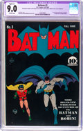Golden Age (1938-1955):Superhero, Batman #3 (DC, 1940) CGC Apparent VF/NM 9.0 Slight (A-1) Off-white pages....