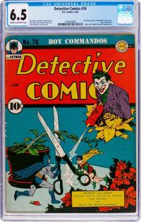 Detective Comics #76 (DC, 1943) CGC FN+ 6.5 Cream to off-white pages