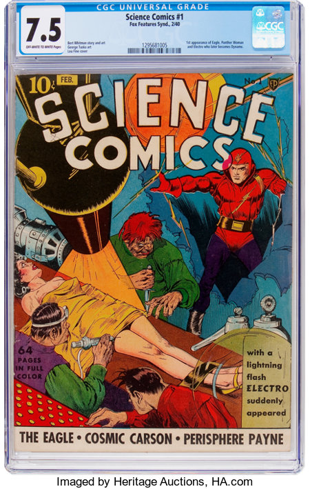 Science Comics #1 (Fox, 1940) CGC VF- 7.5 Off-white to white pages....