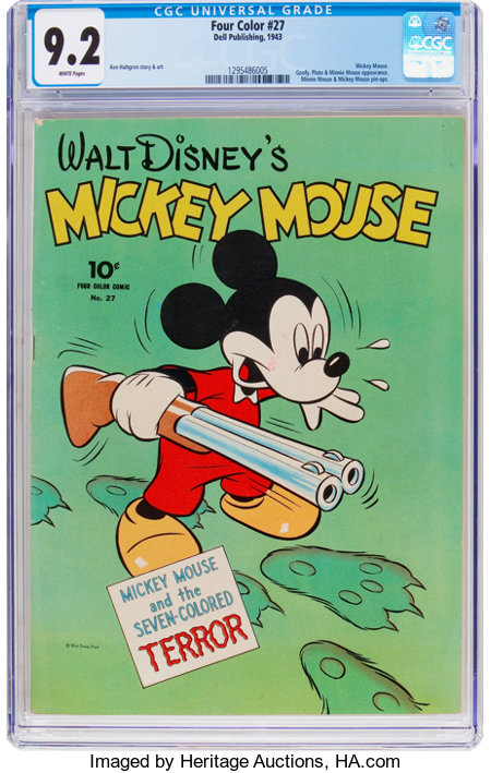 Four Color #27 Mickey Mouse (Dell, 1943) CGC NM- 9.2 White pages....