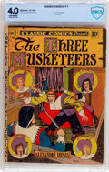 Golden Age (1938-1955):Classics Illustrated, Classic Comics #1 The Three Musketeers - Original Edition (Gilberton, 1941) CBCS VG 4.0 Off-white pages....