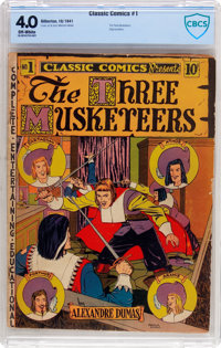 Classic Comics #1 The Three Musketeers - Original Edition (Gilberton, 1941) CBCS VG 4.0 Off-white pages