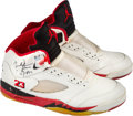 Basketball Collectibles:Others, 1990-91 Michael Jordan Dual-Signed Air Jordan V Deadstock Shoes with Box. . ...