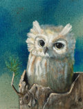 Fine Art - Painting, American, Kelly Fearing (American, 1918-2011). Owl. Oil on canvas.9-3/8 x 7-3/8 inches (23.8 x 18.7 cm). Signed lower left:Kel...