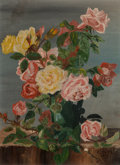 Fine Art - Painting, American, Carl Thomas Hoppe (American, 1897-1981). Roses, 1914. Oil oncanvasboard. 12 x 9 inches (30.5 x 22.9 cm). Signed and dat...
