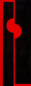 Paintings, Seymour Fogel (American, 1911-1984). Untitled (Red and Black Forms). Oil on board. 40 x 15 inches (101.6 x 38.1 cm). ...
