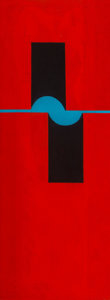 Paintings, Seymour Fogel (American, 1911-1984). Untitled (Black and Blue Forms). Oil on board. 40 x 15 inches (101.6 x 38.1 cm). ...