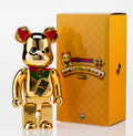 Fine Art - Sculpture, American:Contemporary (1950 to present), BE@RBRICK X Manekinkeko. Gold 400%, 2013. Painted castresin. 10-1/2 x 5 x 2-1/2 inches (26.7 x 12.7 x 6.4 cm). Stamped...