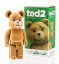 Fine Art - Sculpture, American:Contemporary (1950 to present), BE@RBRICK X FOX. Ted 2 400%, 2015. Cast vinyl, withflocking. 10-3/4 x 5-1/2 x 2-1/2 inches (27.3 x 14 x 6.4 cm).Stampe...