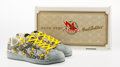 Fine Art - Sculpture, American:Contemporary (1950 to present), BAPE STA X Foot Soldier. Grey and Yellow Sneakers. Size 10,with box. ... (Total: 2 Items)
