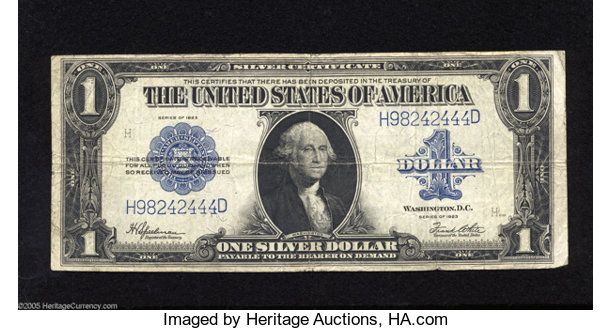 Fr. 237 $1 1923 Silver Certificate Fine. This Friedberg number | Lot ...