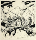 Paintings, LARRY ELMORE (American b.1948) . Joust, original illustration . Ink on board . 12-1/2 x 10-1/2in. . Signed lower center-... (Total: 1 Item)