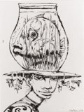 Illustration:Books, CLIVE BARKER (English b.1940) . Woman With a Fish Bowl Head,1996, original illustration. From Barker's fantasy book A...