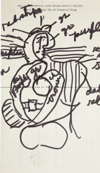 NORMAN ROCKWELL (American 1894 - 1978) Picasso vs. Sargent, original postcard ink sketch of Pablo Picasso painting and...
