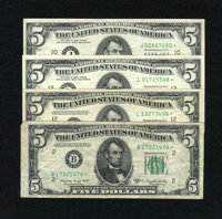$5 Federal Reserve Star Notes. Four Examples. Fine or Better